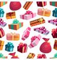 christmas winter gifts seamless pattern vector image vector image