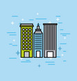city buildings town architecture scene vector image