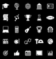 College icons on black background vector image vector image