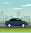 color background city landscape with automobile vector image vector image