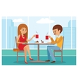 Couple in cafe - with city vector image