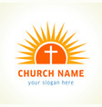 cross on sun church name vector image vector image