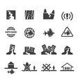 earthquake icons set vector image