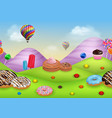 fantasy candyland with dessrts and sweets vector image vector image