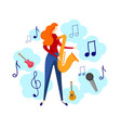 female character playing jazz blues music sax vector image