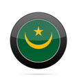 flag of mauritania shiny black round button vector image