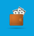 flat wallet and money icon vector image vector image