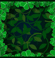 frame green leaves on a black 3d background vector image vector image