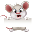 funny mouse cartoon with blank sign vector image