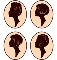 girl head silhouettes vector image vector image