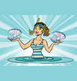 girl sea diver for pearls vector image vector image