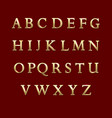 Gold metal letters alphabet vector image