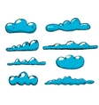 Hand drawn vintage blue clouds vector image vector image