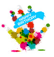 Happy Birthday on White Background with Hand vector image vector image