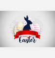 happy easter festival card with red ribbon vector image