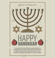 happy hanukkah gold menorah vector image