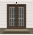 house door front with doorstep and steps window vector image