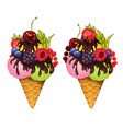 ice cream and fresh berries white vector image