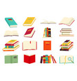 icons of books set in a flat design style vector image