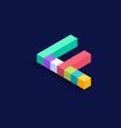 letter f isometric colorful cubes 3d design