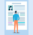 man look at document and read it newspaper sheet vector image vector image