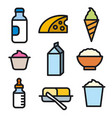 milk products icon set vector image