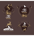 Mountain climbing color labels Ski Resort vector image vector image