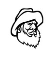 old fisherman or fisher wearing bucket hat mascot vector image vector image