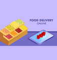 ordering fruits online isometric banner template vector image vector image