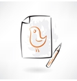 painted bird grunge icon vector image vector image