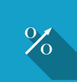 percent up arrow icon isolated with long shadow vector image vector image