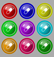 pill icon sign symbol on nine round colourful vector image vector image
