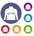 plastic surgery of torso icons set vector image vector image