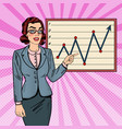 pop art business woman showing on growth graph vector image vector image