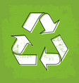 recycle sign on green background vector image vector image