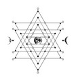 sacred geometry sign with hand drawn earth and vector image