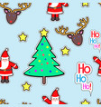 santa clause deer tree star seamless pattern vector image vector image