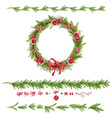Set of christmas pine twigs and holiday decoration vector image vector image