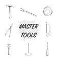 Set of Different Tools Hand Drawn vector image vector image