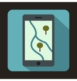 Smartphone with GPS navigator icon flat style vector image