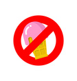Stop ice cream Red forbidding sign for sweet vector image