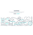 swimming - modern line design style web banner vector image vector image