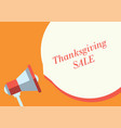 thanksgiving sale text and marketing megaphone vector image vector image