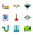 toilet icons set cartoon style vector image vector image