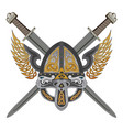 viking winged helmet with two crossed swords and vector image vector image