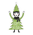with funny smiley face girl in pine tree costume vector image