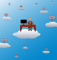 working in the cloud vector image vector image