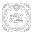 vintage thin line pisces zodiac sign label retro vector image