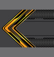 abstract yellow black arrow circuit technology vector image vector image