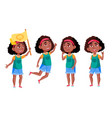 afro american girl set black education vector image vector image